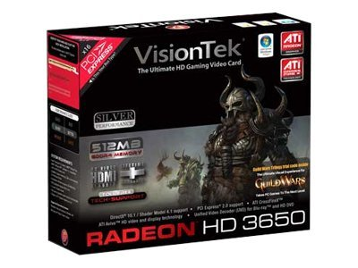 VisionTek Radeon HD 3650 Graphics Card, PCI Express, 512MB, 900232, 8899508, Graphics/Video Accelerators