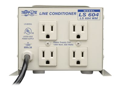 Tripp Lite 600W Wallmount Line Conditioner (4) Outlet 120V, LS604WM