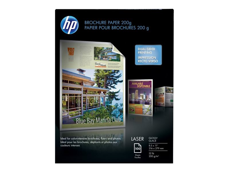 HP 8.5 x 11 Color Laser Glossy Brochure Paper - 200gsm (100-Sheets), Q6608A, 6004900, Paper, Labels & Other Print Media