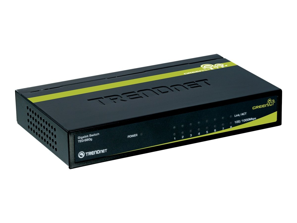 TRENDnet 8-Port Gigabit Switch, TEG-S80G, 9390308, Network Switches
