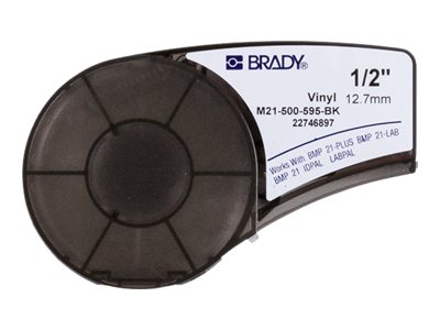 Brady 1 2 Black on White Labels, M21-500-595-BK