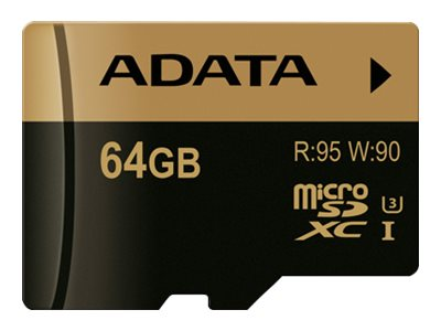 A-Data 64GB MicroSDXC UHS-I U3 Flash Memory Card with Adapter, Class 10