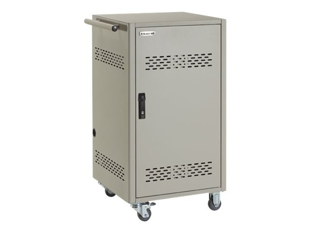 Black Box 30-Device iPad, Chromebook, Tablet, and Laptop Cart, Steel Top, Fixed Shelves, Hinged Doors, LCC30H-AT2