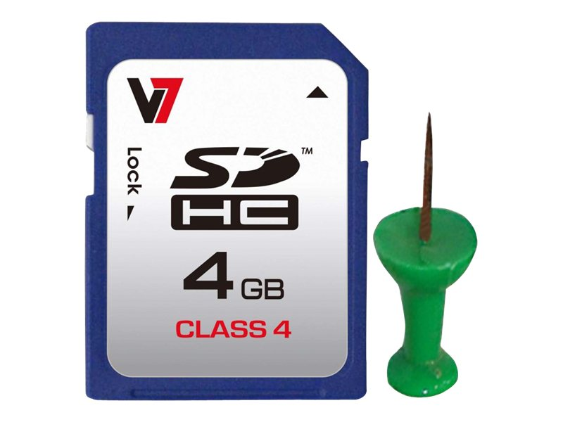 V7 8GB microSDHC Class 4 Card with SD Adapter, VAMSDH8GCL4R-1N, 13165293, Memory - Flash