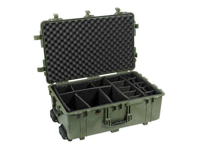 Pelican 1654 Hard Case w  Dividers 28.57 x 17.52 x 10.62, OD Green