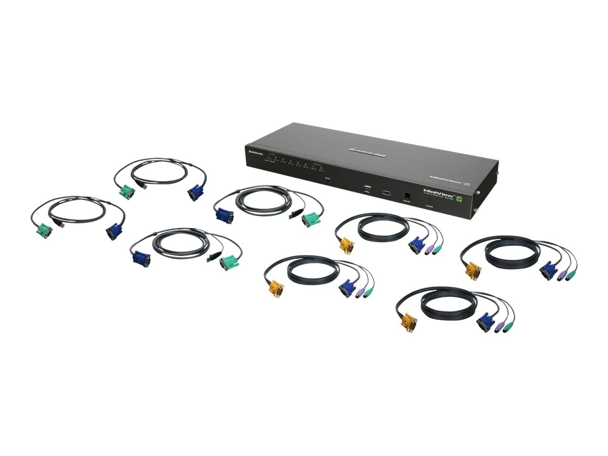 IOGEAR 8-Port IP Based KVM Kit, PS 2, USB, TAA, GCS1808IKITTAA, 22073518, KVM Switches