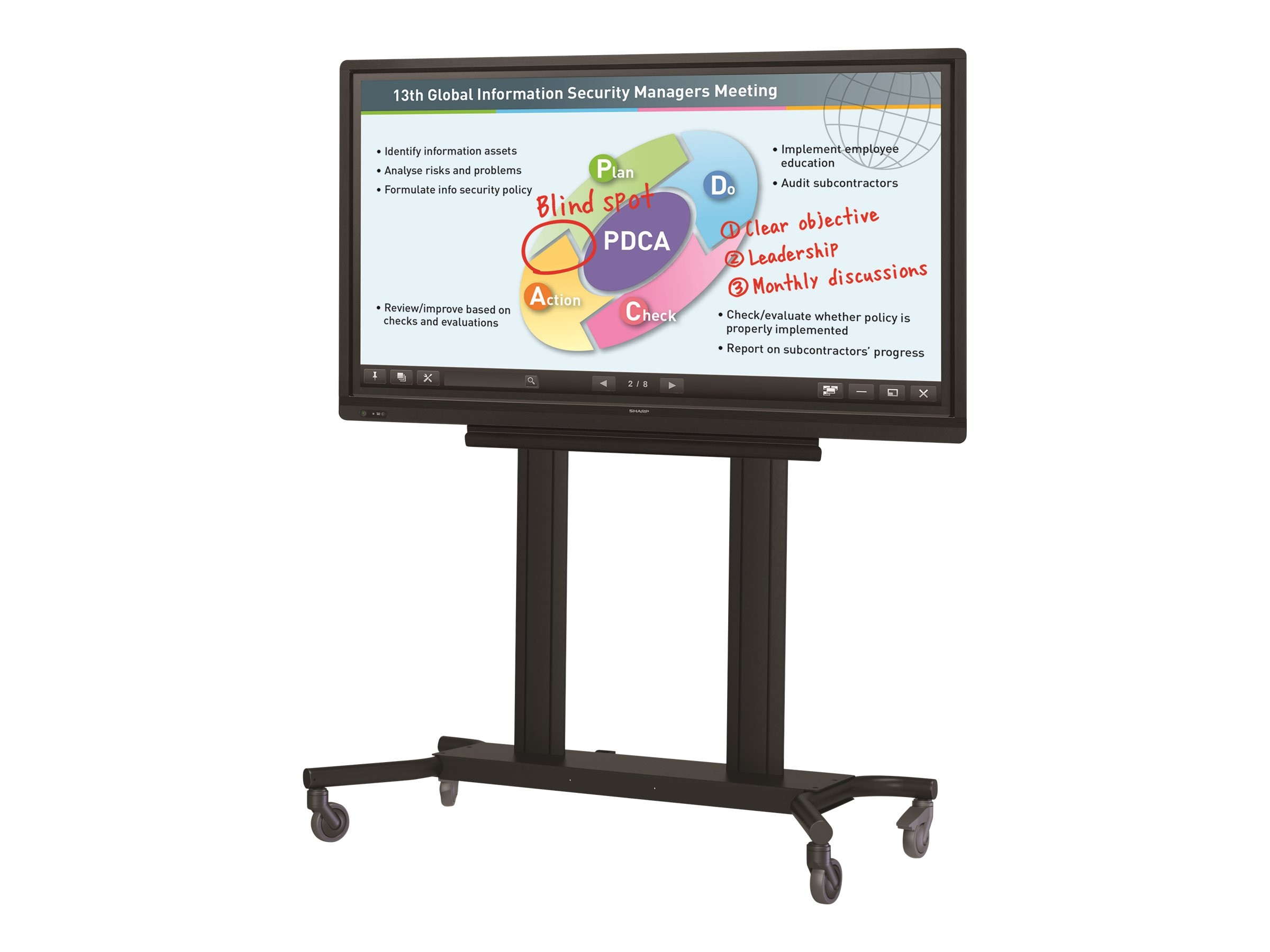 Sharp 70 PN-L703A Full HD LED-LCD Touchscreen Monitor with Rolling Cart and Shuttle PC, PN-L703APKG2, 18953168, Monitors - Large-Format LED-LCD
