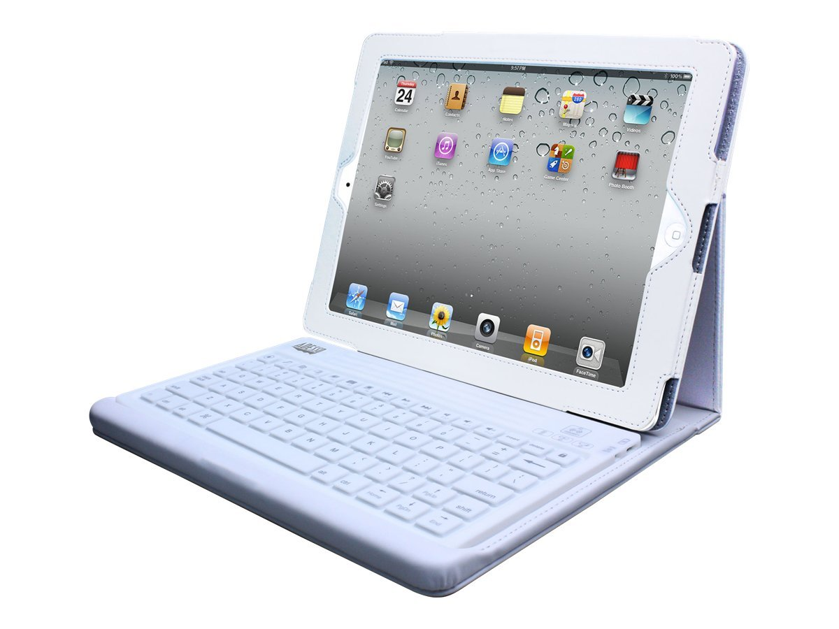 Adesso Bluetooth Keyboard, Leather Case, White, WKB-2000CW, 13372364, Keyboards & Keypads