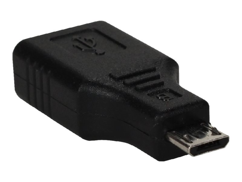 QVS Micro USB to USB Type A M F OTG Adapter, Black