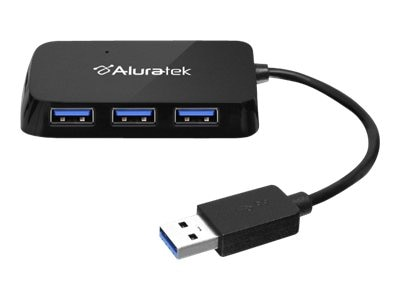 Aluratek 4-Port USB 3.0 SuperSpeed Hub with Attached Cable, AUH2304F
