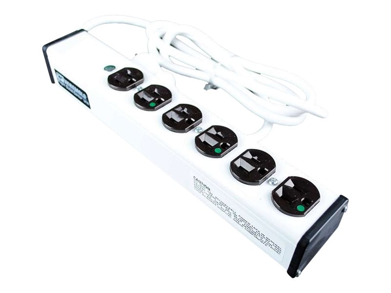 C2G Wiremold 6-Outlet Plug-In Center Unit 120V 15A Medical Grade Power Strip 15ft, White, 16308, 26834089, Power Strips