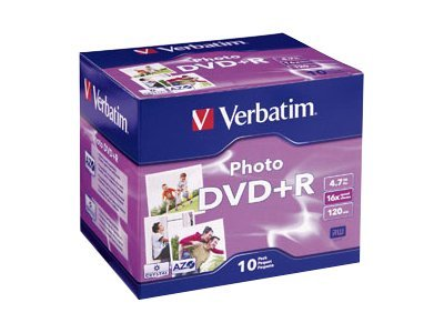 Verbatim 16X 4.7GB Photo DVD+R Media (10-pack Jewel Case), 95523, 7660052, DVD Media