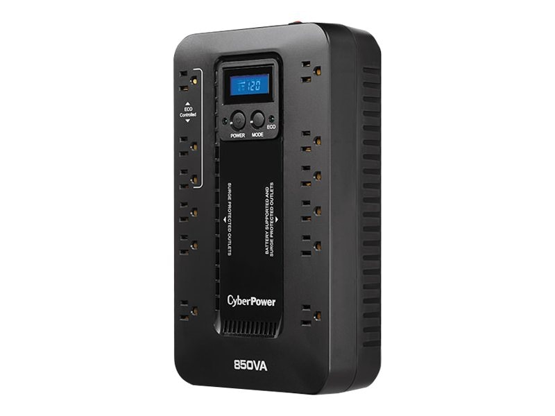 CyberPower ECO LCD Series 850VA 510W Simulated Sine Wave Standby Tower UPS (12) Outlets, EC850LCD