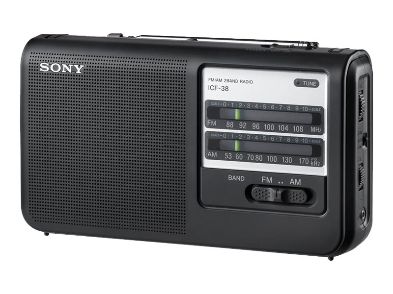 Open Box Sony Portable AM FM Radio, ICF-38, 31650786, Personal Stereos