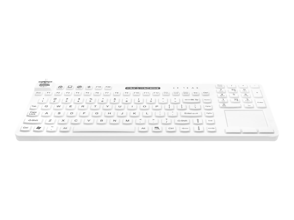 Man & Machine Really Cool Touch Magfix Backlight Keyboard, USB, Hygienic White, RCTLP/MAG/BKL/W5, 31869403, Keyboards & Keypads