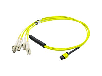 ACP-EP MPO to 4xLC Duplex Fanout SMF Patch Cable, Yellow, 1m, ADD-MPO-4LC1M9SMF