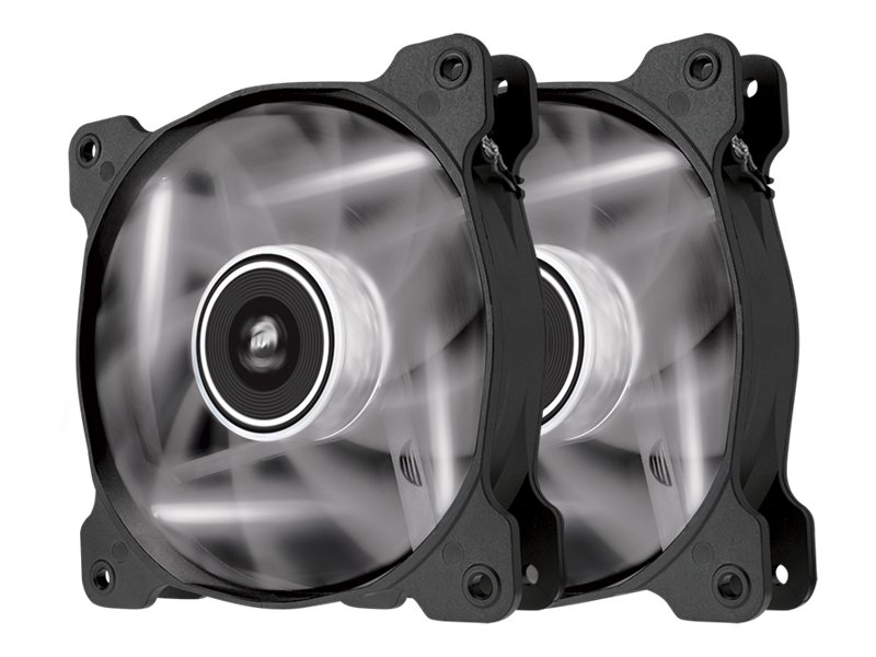 Corsair Air Series AF120 Case Fan Quiet Edition White LED, Twin Pack, CO-9050016-WLED, 16375106, Cooling Systems/Fans