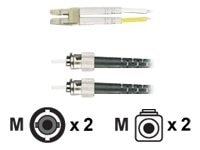 Black Box 10GB Fiber Optic Patch Cable, 50 125, Multimode, PVC, Zipcord, ST-LC, 9.8ft.