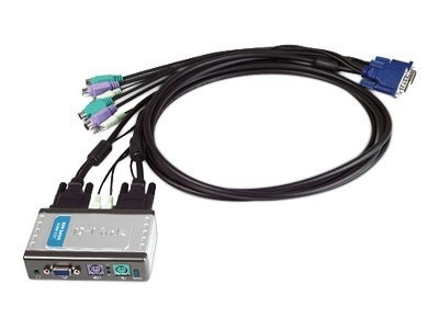 D-Link 2-Port PS 2 KVM Switch with Audio Support, (2) KVM Cables, KVM-121, 6702290, KVM Switches
