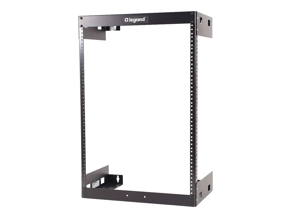 C2G Wall Mount Open Frame Rack, 15U x 12d, 150lb Capacity, Black