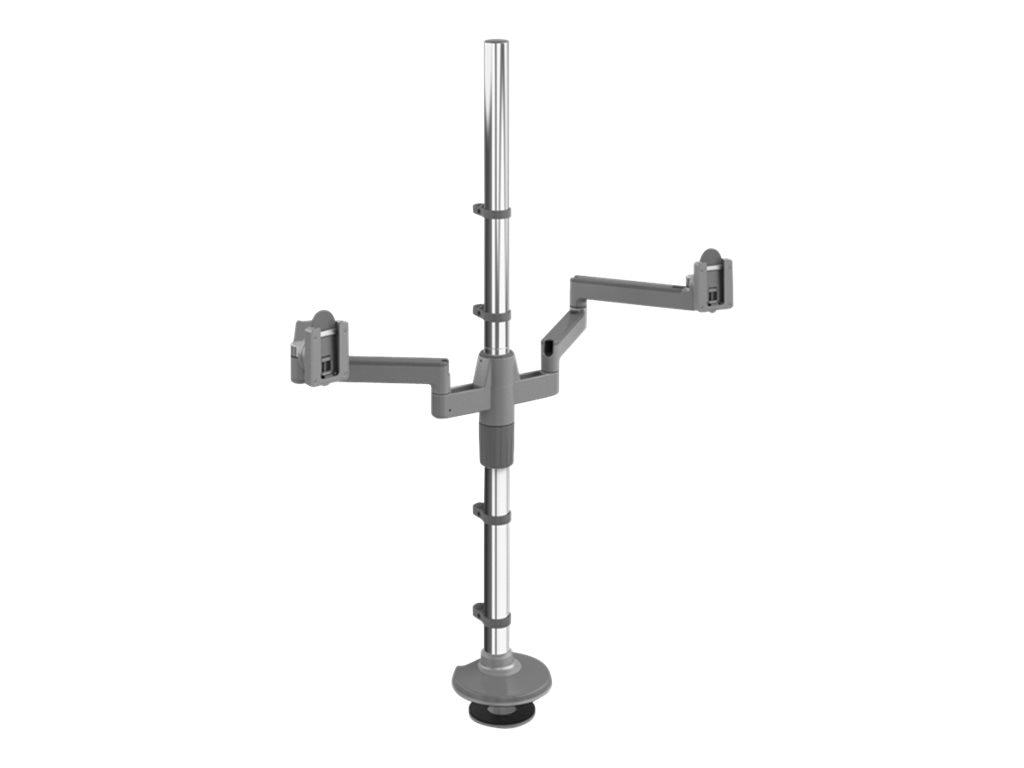 Humanscale MFlex Arm with Dual Monitor Support and Bolt Through Mount, Silver Gray