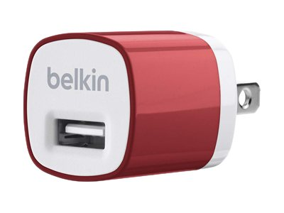Belkin Mixit Up Home Charger 5 Watt 1 Amp, Red, F8J017TTRED, 15756257, Battery Chargers