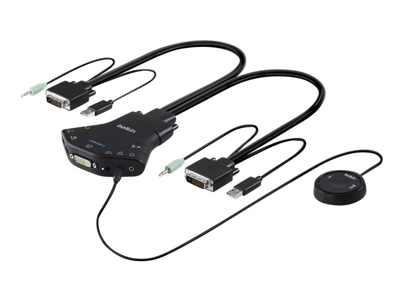 Belkin Secure 2-Port DVI-D Single-Link KVM w  Audio and Remote Controller, F1DN102F-3, 25876287, KVM Switches