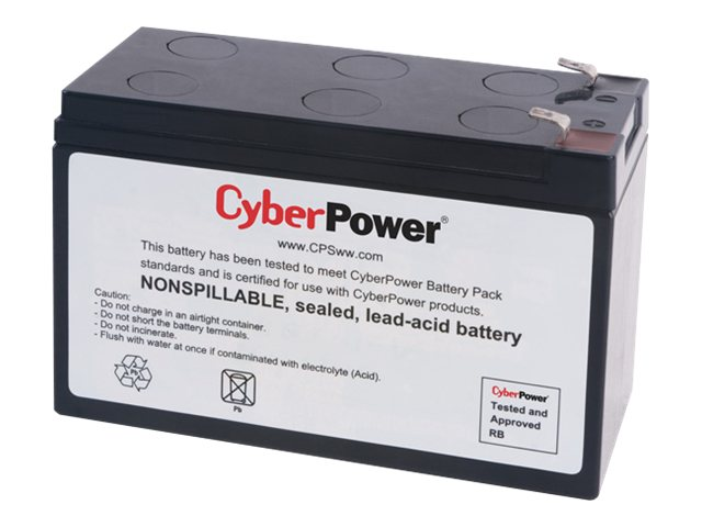 CyberPower UPS Replacement Battery Cartridge 12V 7Ah Battery, RB1270A, 14775026, Batteries - Other
