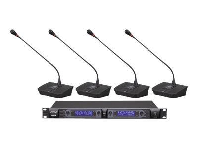 Pyle Professional Rack Mount 4-Channel Desktop UHF Selectable Frequency Wireless Microphone System, PDWM4700