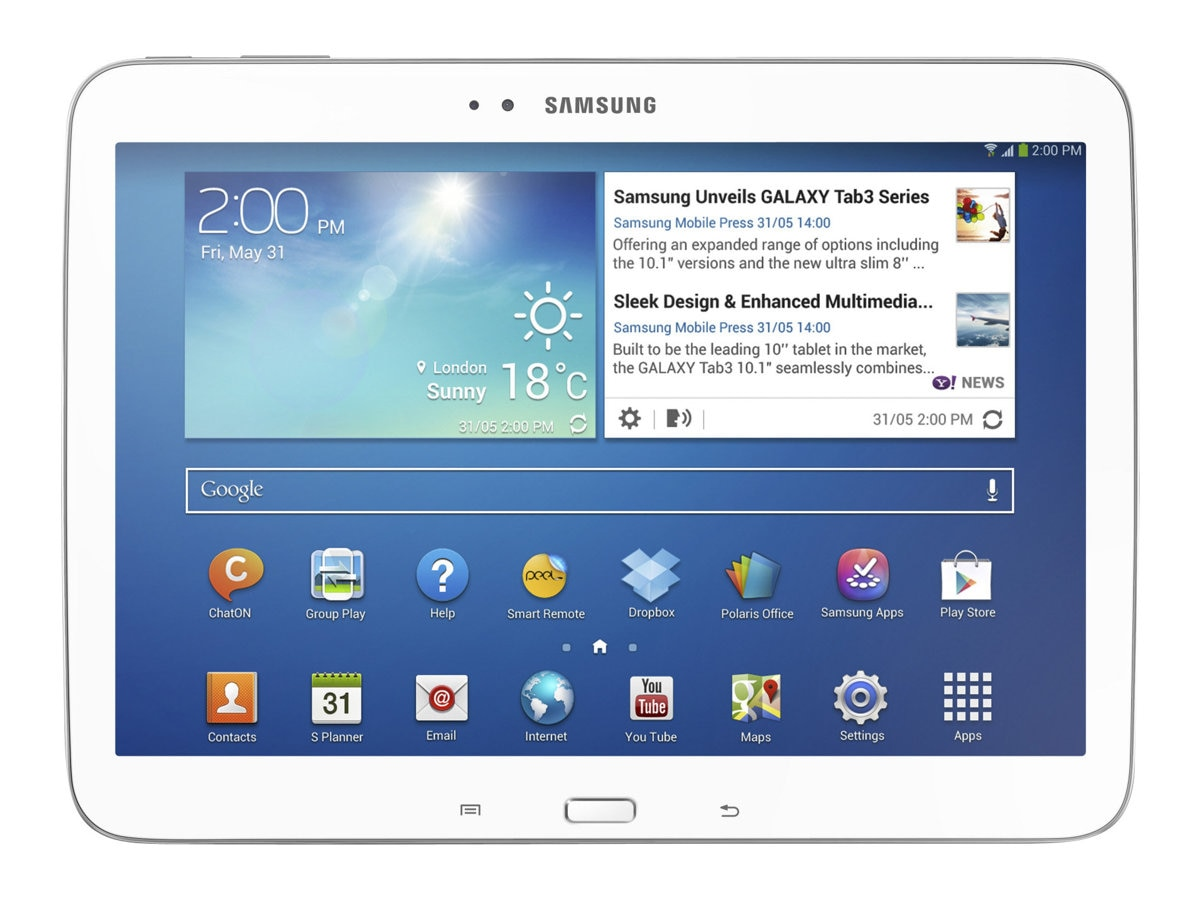 Scratch & Dent Samsung Galaxy Tab 3 DC 1.6GHz 1GB 16GB SSD abgn BT 2xWC 10.1 HD Android 4.2 White, GT-P5210ZWYXAR, 30891932, Tablets