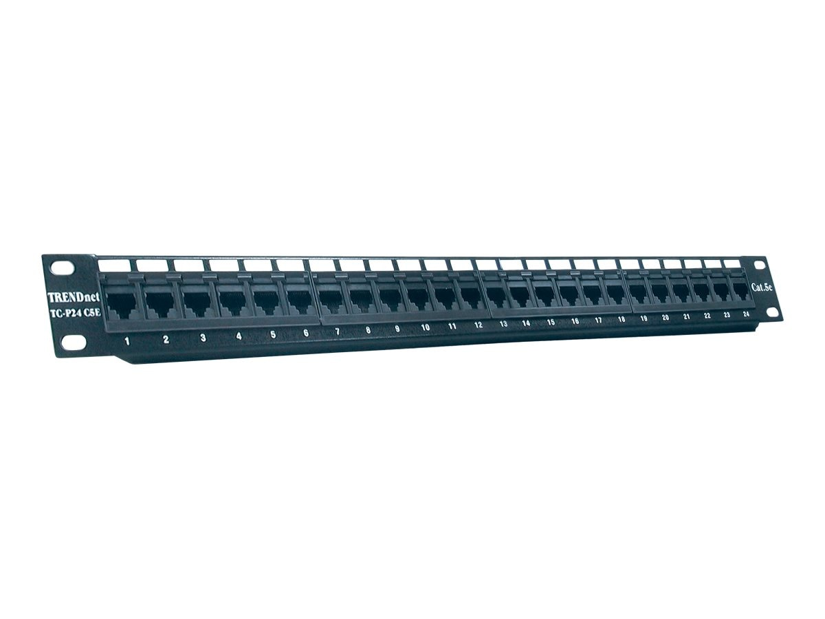 TRENDnet Patch Panel Rackmount, (24) RJ-45 Ports, UTP Cat5 5e, TC-P24C5E