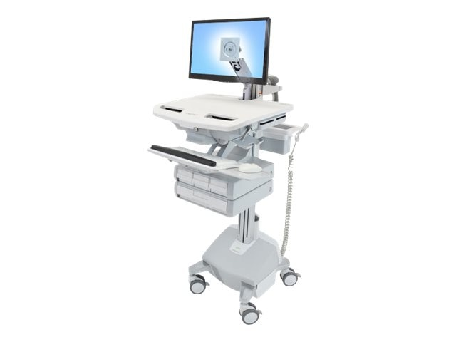 Ergotron StyleView Cart with LCD Arm, LiFe Powered, 4 Drawers, SV44-1242-1