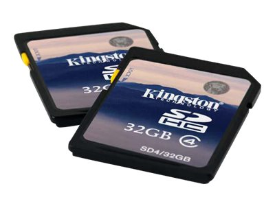Kingston 32GB SDHC Flash Memory Card, Class 4, SD4/32GB, 8812290, Memory - Flash