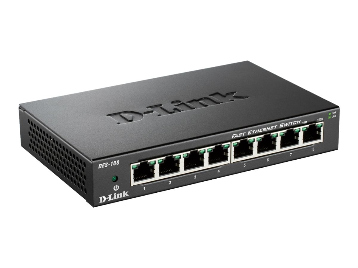 D-Link 8-Port 10 100 Unmanaged Switch with Metal Chassis, DES-108