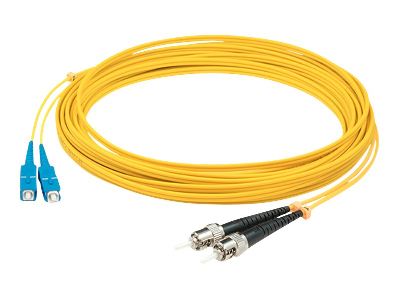ACP-EP ST-ST OS1 Singlemode Duplex Fiber Patch Cable, Yellow, 2m, ADD-ST-ST-2M9SMF