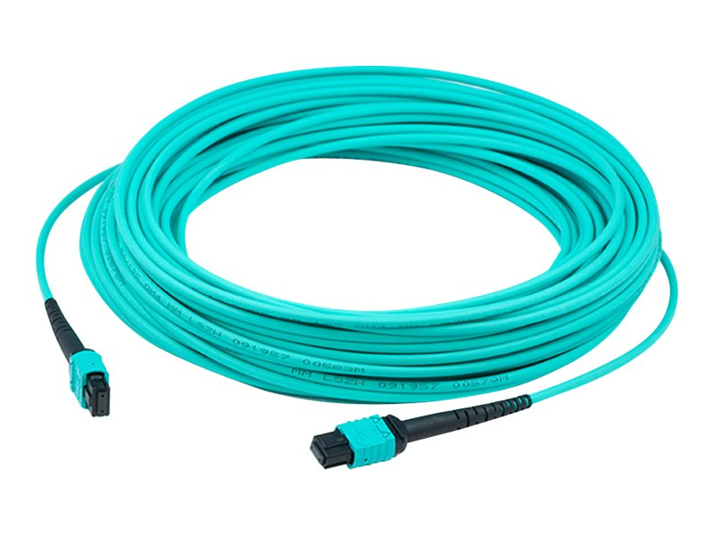 ACP-EP MPO-MPO 50 125 OM3 Multimode Duplex Fiber Patch Cable, Aqua, 3m, ADD-MPOMPO-3M5OM3S