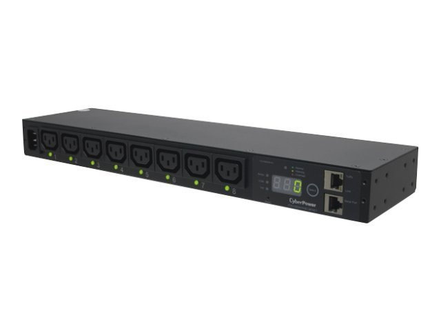 CyberPower Switched PDU 240V 15A 1U RM Digital Display SNMP C14 10ft Cord (8) C13 Front, PDU15SWHVIEC8FNET, 13268188, Power Distribution Units