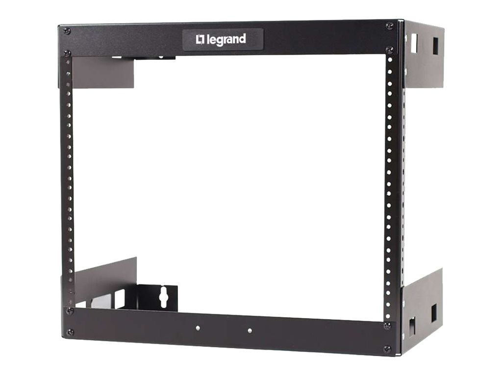 C2G Wall Mount Open Frame Rack, 8U x 12d, 150lb Capacity, Black
