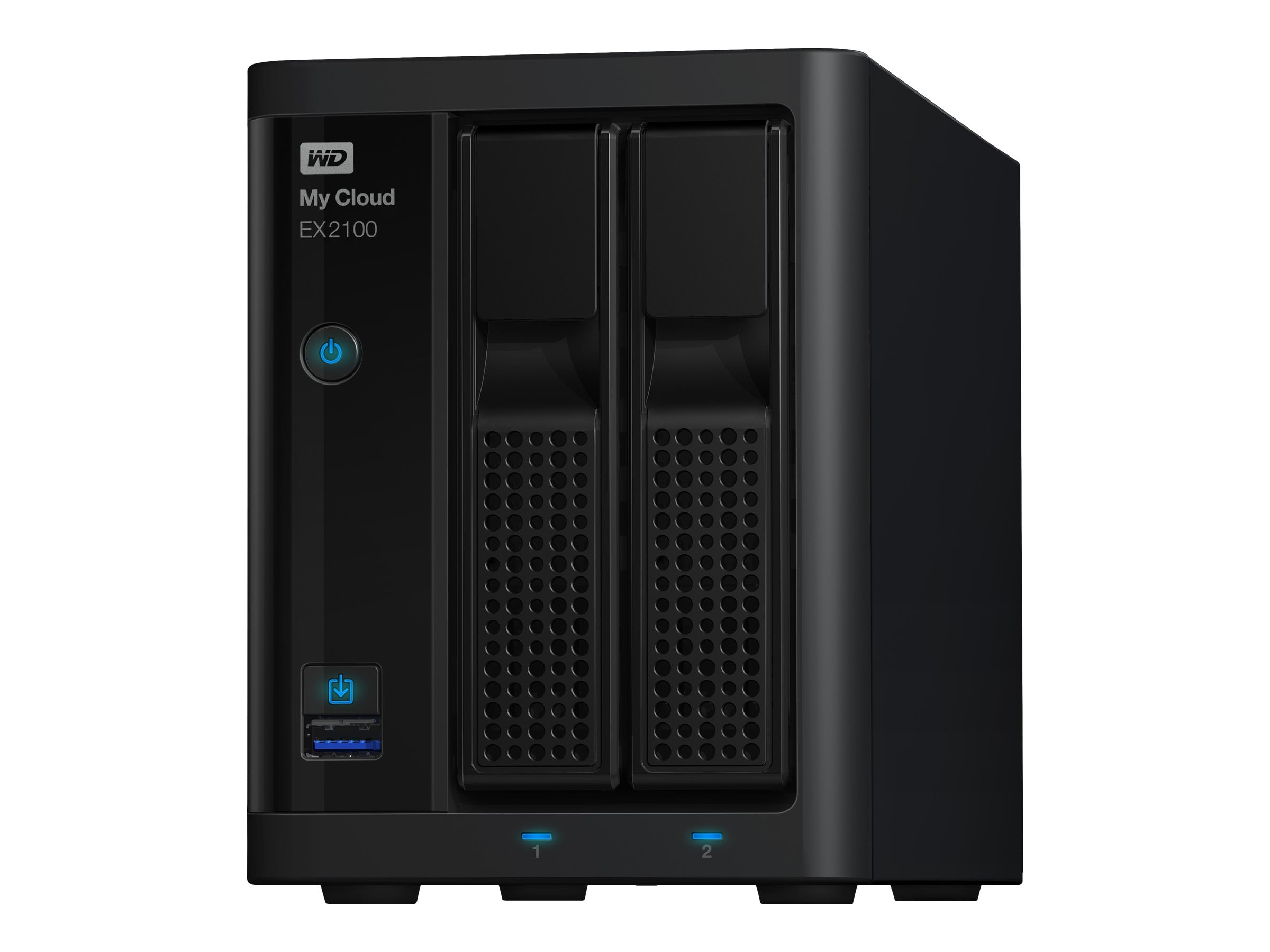 WD My Cloud EX2100 Network Attached Storage - Diskless, WDBWAZ0000NBK-NESN, 18442798, Network Attached Storage