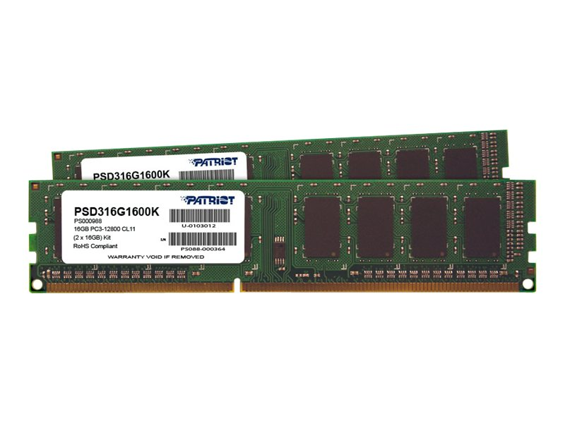 Patriot Memory 16GB PC3-12800 240-pin DDR3 SDRAM DIMM Kit, PSD316G1600K
