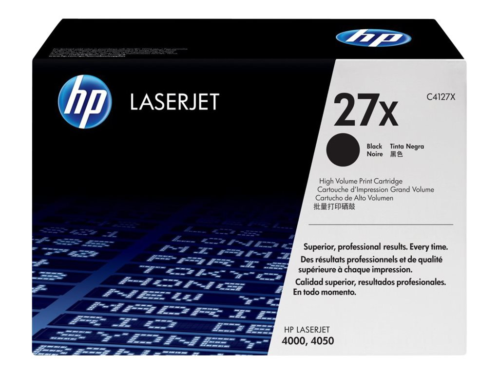 HP 27X (C4127X) High Yield Black Original LaserJet Toner Cartridge for HP LaserJet 4000 & 4050 Series
