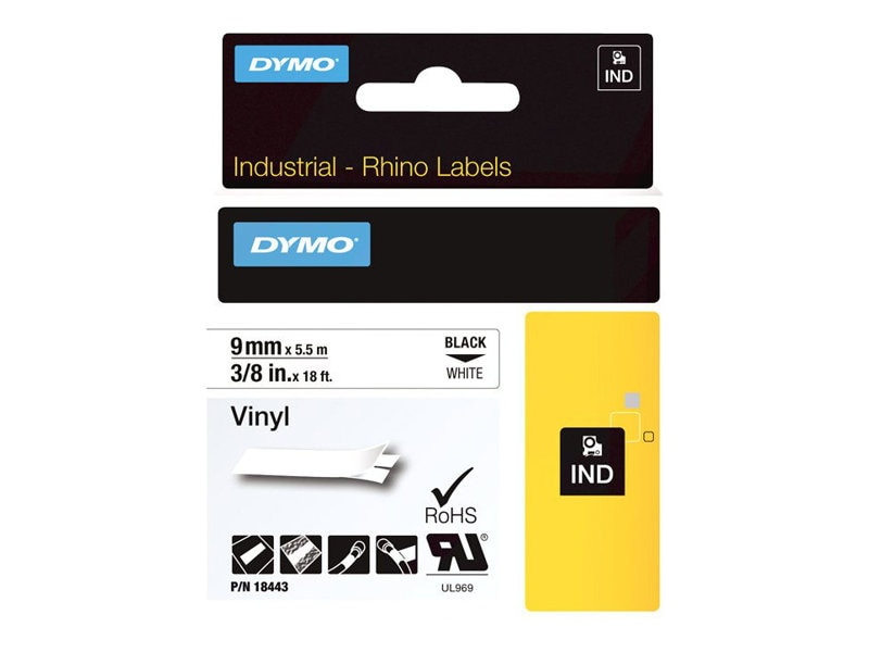 DYMO .375 Vinyl Tape (White), 18443, 8246734, Paper, Labels & Other Print Media