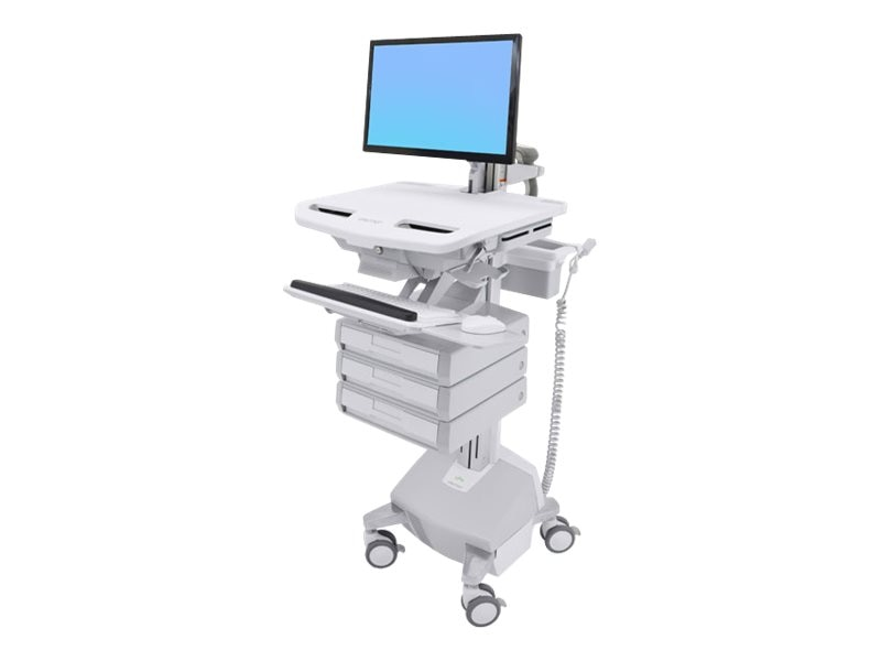 Ergotron StyleView Cart with LCD Arm, LiFe Powered, 3 Drawers, SV44-1232-1, 31498243, Computer Carts - Medical