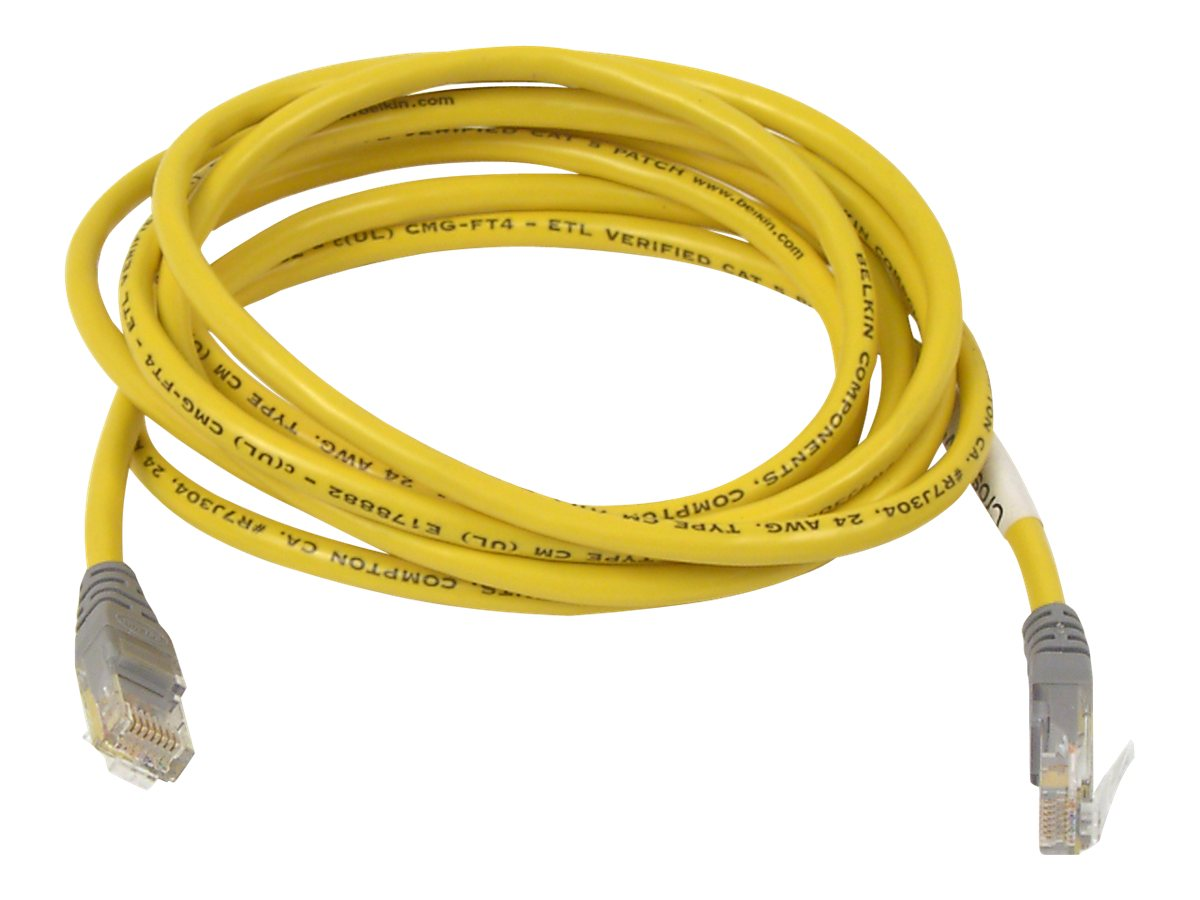Belkin CAT5e Crossover Patch Cable, Yellow, 10ft, A3X126-10-YLW-M