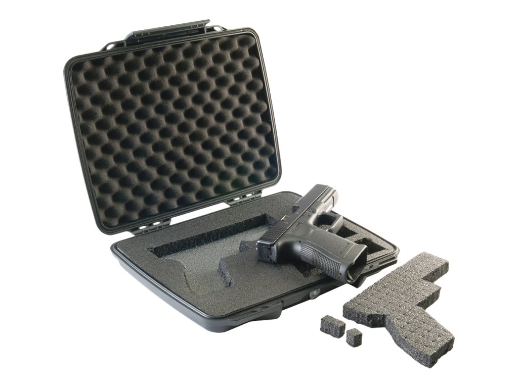 Pelican P1075 Pistol & Accessory Case, Black, Pick-n-Pluck Foam, Strap