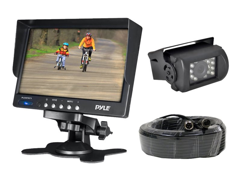 Pyle Weatherproof Rearview Backup Camera System Kit with 7'' LCD Monitor and IR Night Vision Camera, PLCMTR71