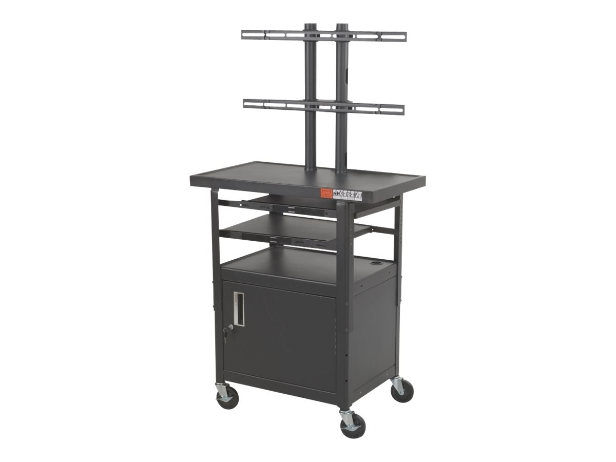 Balt Height Adjustable Flat Panel TV Cart with Cabinet, Black, 27530-M