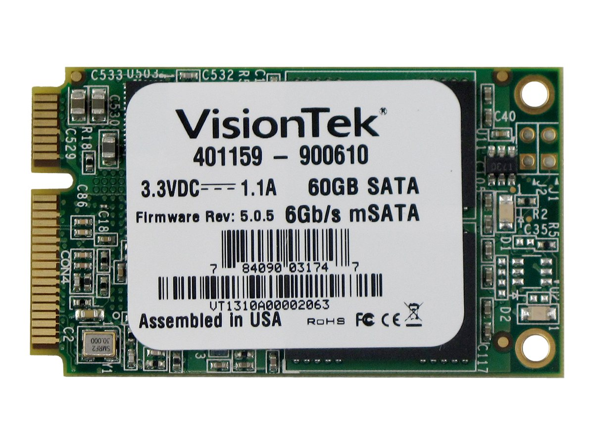 VisionTek 60GB mSATA 6Gb s Internal Solid State Drive, 900610, 16303735, Solid State Drives - Internal