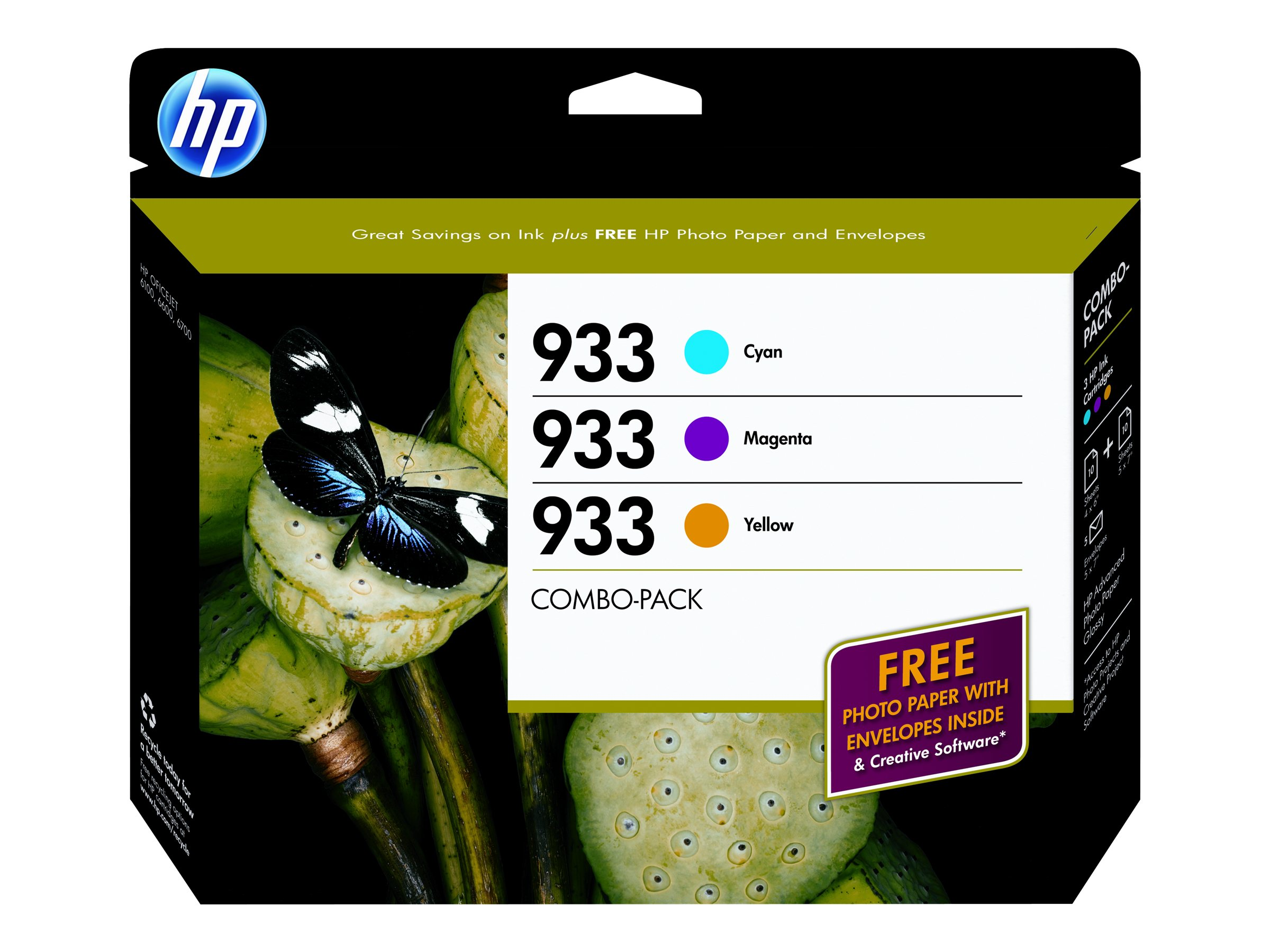 HP 933 (B3B32FN) 3-pack Cyan Magenta Yellow Original Ink Cartridges w  Photo Paper, B3B32FN#140, 14611304, Ink Cartridges & Ink Refill Kits