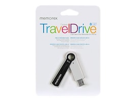 Memorex 8GB TravelDrive Capless USB Flash Drive, White, 99223, 15075435, Flash Drives